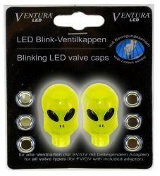 Čepičky ventilku Blikačky Ventura mini na ventil lebka alien