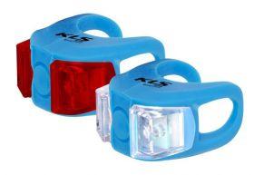 Světla KLS TWINS set přední a zadní blikačka 2ks 2Led 2f blue