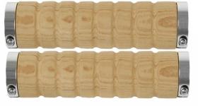 Zobrazit detail - Gripy VELO M-Wave initace dřevá 130mm světle hnědé černé objímky