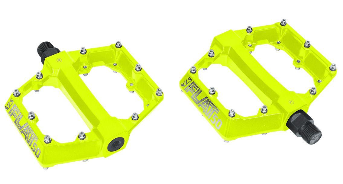 Pedály KLS FLAT 50 BB BMX / MTB kuličková ložiska lime fluo Kellys