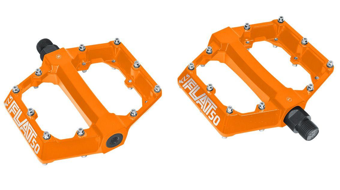 Pedály KLS FLAT 50 BB BMX / MTB kuličková ložiska oranžová fluo Kellys