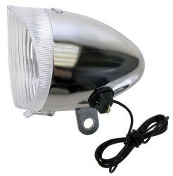 Světlo přední RETRO 1 žárovka + kablík na dynamo stříbrná