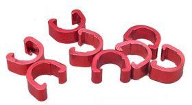 Příchytka hydraulické brzdové hadice a bowdenu podkova AL červená 1ks