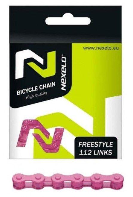 Řetěz Nexelo 1 rychlostní 1/2x1/8 Single Speed + spojka růžový