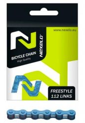 Řetěz Nexelo 1 rychlostní 1/2x1/8 Single Speed + spojka modrý