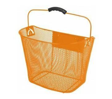 Košík na řídítka Ventura přední oválný s klipem 25,4 - 31,8 oranžový