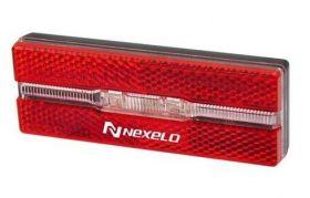 Zadní světlo Nexelo odrazka na nosič 2led bat. 100 x 35 x 18 mm