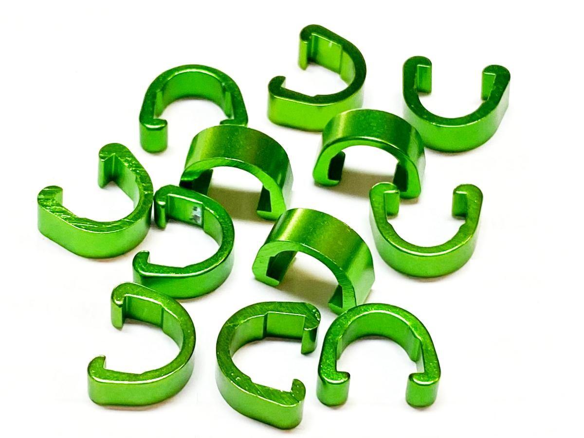 Příchytka hydraulické brzdové hadice a bowdenu podkova AL zelená 1ks Velo