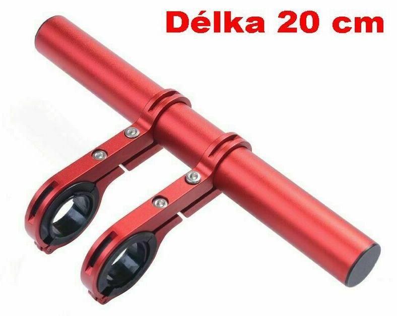 Držák na řídítka AL posuvná tyčka 20cm 22.2-32mm extender červená Bike tuning centrum