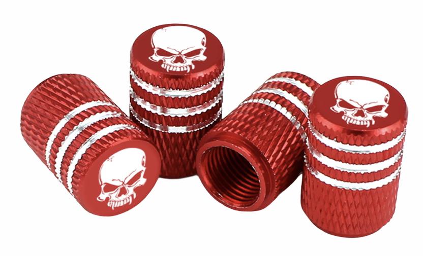 Čepičky na ventilek AV auto 2 ks elox logo lebka červená a2z