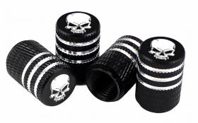 Čepičky na ventilek AV auto 2 ks elox logo lebka černá