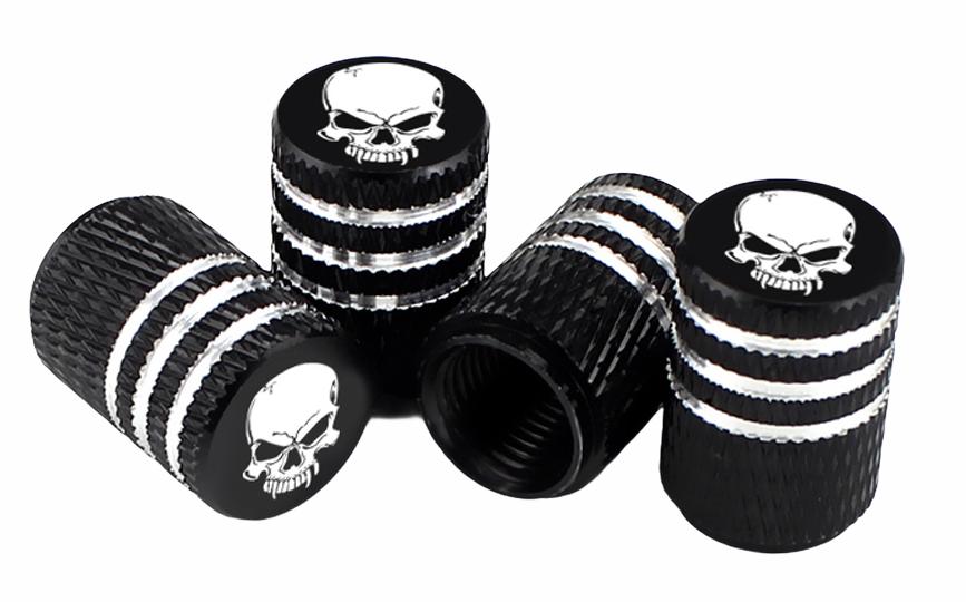 Čepičky na ventilek AV auto 2 ks elox logo lebka černá a2z