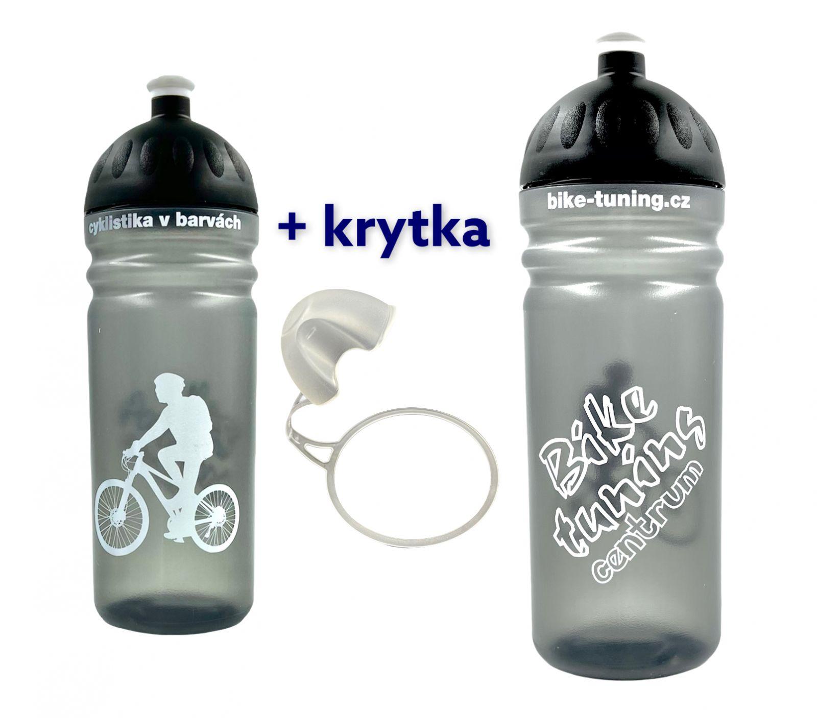Láhev R&B 0,7L Bike tuning centrum transparent černá + krytka