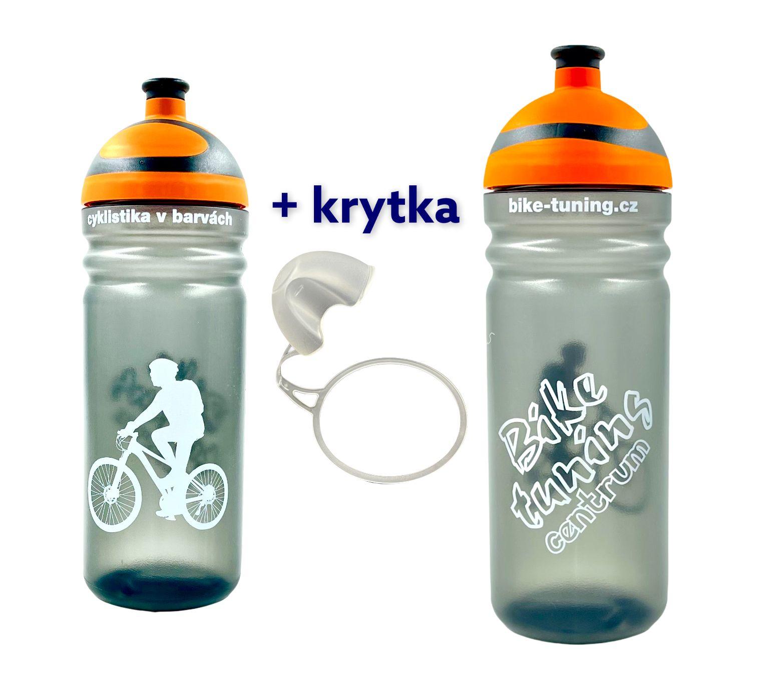 Láhev R&B 0,7L Bike tuning centrum Transparent oranžová 2K víčko + krytka