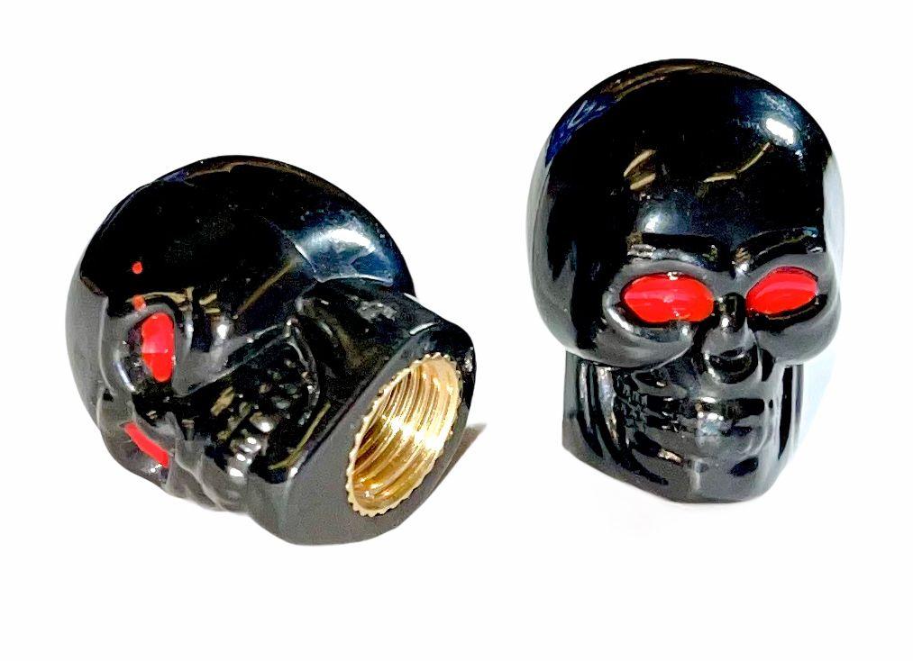 Čepičky ventilku lebka black na AV ventilek set 2ks Bike tuning centrum