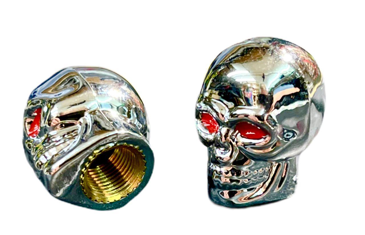 Čepičky ventilku lebka stříbrná na AV ventilek set 2ks Bike tuning centrum