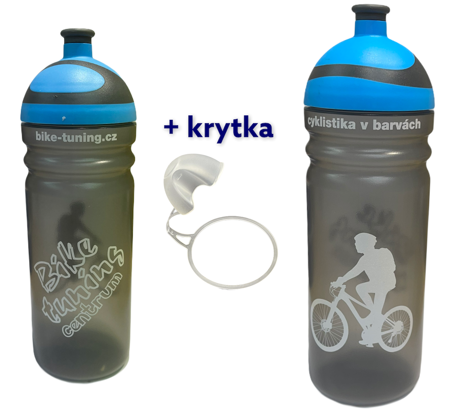 Láhev R&B 0,7L Bike tuning centrum Transparent modré 2K víčko + krytka