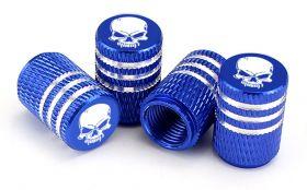 Čepičky na ventilek AV auto 2 ks elox logo lebka modrá