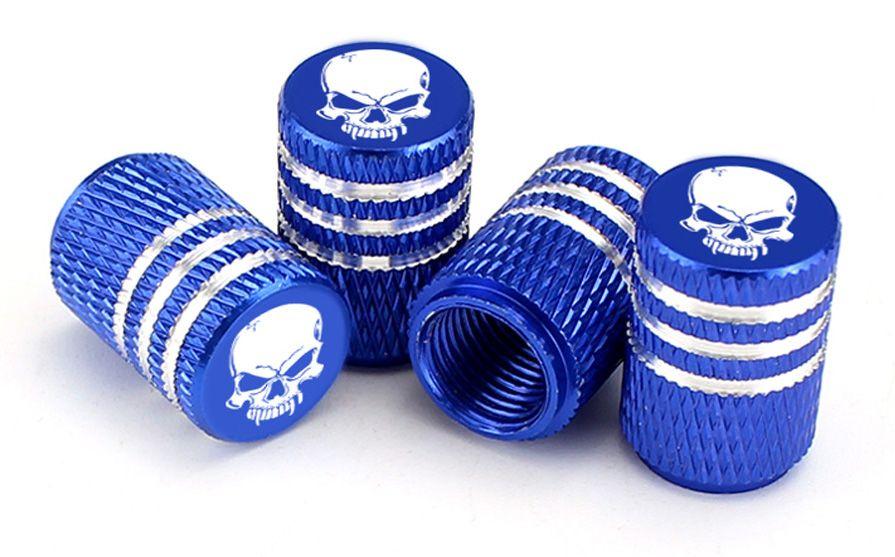Čepičky na ventilek AV auto 2 ks elox logo lebka modrá a2z