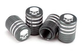 Čepičky na ventilek AV auto 2 ks elox logo lebka titanová