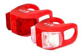 Světla KLS TWINS set přední a zadní blikačka 2ks 2Led 2f red