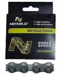 Řetěz Nexelo 1 rychlostní 1/2x1/8 Single Speed + spojka šedivý