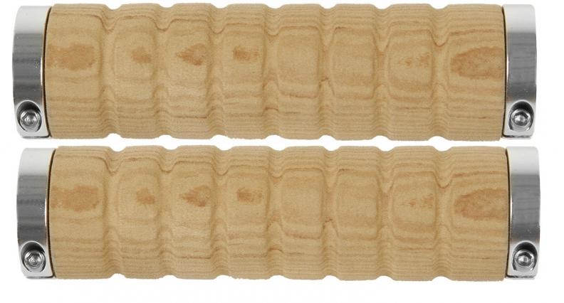 Gripy VELO M-Wave initace dřevá 130mm světle hnědé černé objímky