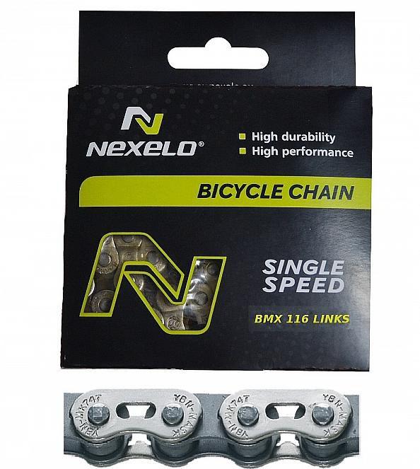 Řetěz Nexelo 1 rychlostní 1/2x1/8 Single Speed + spojka BMX stříbrno/šedý